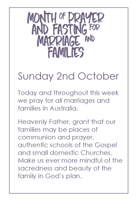 month of prayer and fasting australian catholic marriage family
